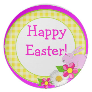 Yellow Gingham - Happy Easter Plates
