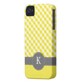 Yellow Gingham Pattern Custom Monogram iPhone 4 Cover