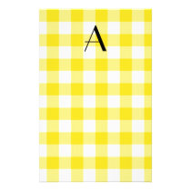 Yellow gingham pattern monogram stationery