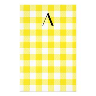 Yellow gingham pattern monogram stationery