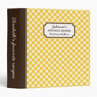 Yellow gingham pattern personalized recipe book vinyl binder