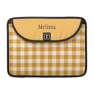 Yellow Gingham Pattern - Personalized Sleeve For MacBook Pro