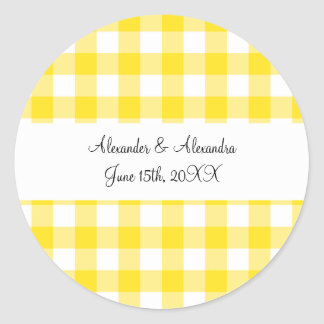 Yellow gingham pattern wedding favors classic round sticker