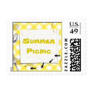 Yellow Gingham Picnic BBQ Party  Postage