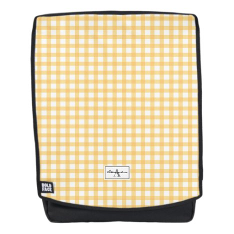 Yellow Gingham Plaid Checked Pattern Monogram Backpack