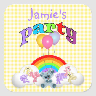 Yellow Gingham Plushie Party  Sticker