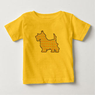 Yellow Gingham Pup infant onsie T-shirt