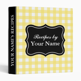 Yellow Gingham recipe binder | Custom cook book