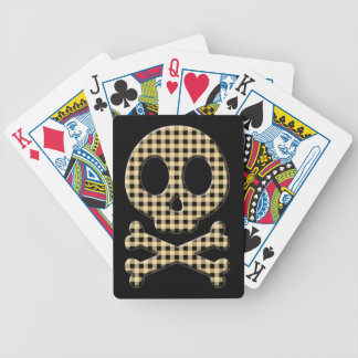Yellow Gingham Skull Bicycle Playing Cards
