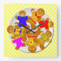 Yellow Gingham Tablecloth Plate of Gingerbread Men Square Wall Clock (<em>$33.45</em>)