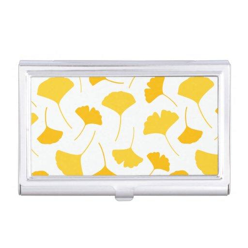 Yellow Ginkgo Leaf Pattern Business Card Case