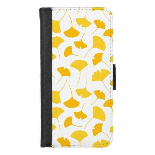 Yellow Ginkgo Leaf Pattern iPhone 8/7 Wallet Case