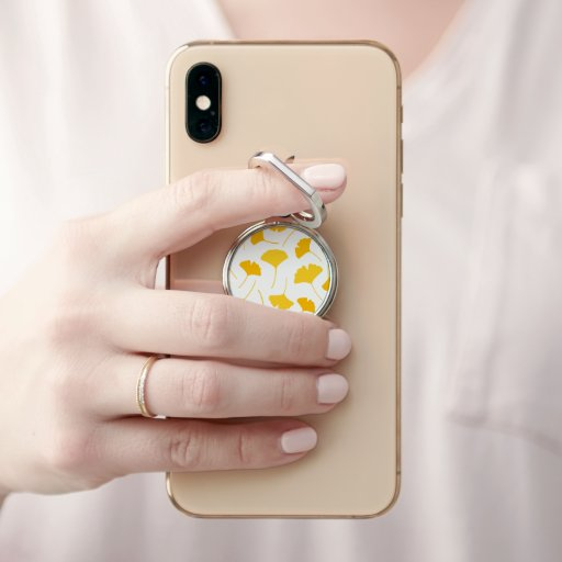 Yellow Ginkgo Leaf Pattern Phone Ring Stand
