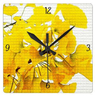 Yellow Ginko Leaves Square Wall Clocks