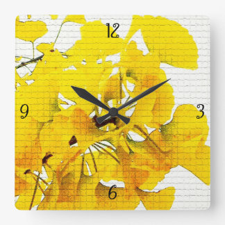 Yellow Ginko Leaves Square Wall Clock