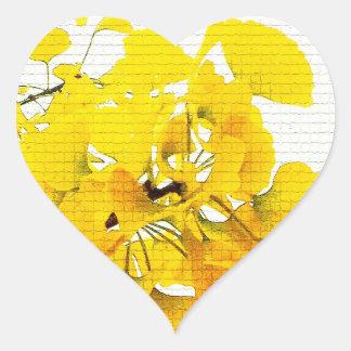 Yellow Ginko Leaves Heart Sticker