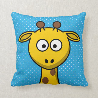 Yellow Giraffe Cartoon Blue Pillow