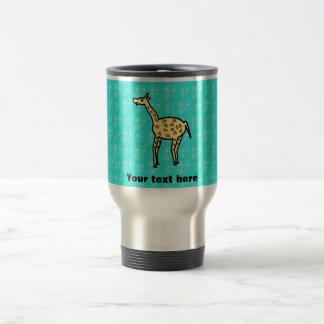 Yellow giraffe on turquoise coffee mug