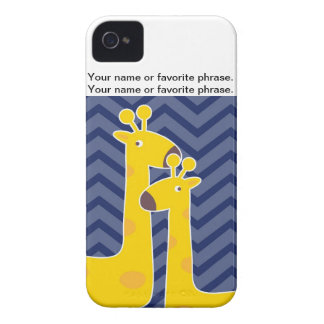 Yellow giraffe on zigzag chevron - Blue iPhone 4 Case-Mate Case