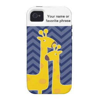 Yellow giraffe on zigzag chevron - Blue iPhone 4/4S Cases