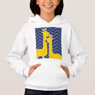 Yellow giraffe on zigzag chevron - Blue. Hoodie