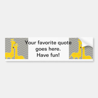 Yellow giraffe on zigzag chevron - Grey Bumper Sticker