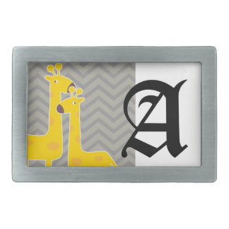 Yellow giraffe on zigzag chevron - Grey Rectangular Belt Buckle