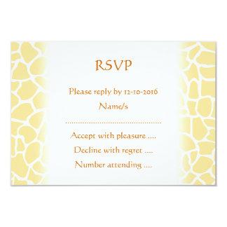 Yellow Giraffe Pattern Animal Print Design. 3.5x5 Paper Invitation Card
