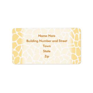 Yellow Giraffe Pattern Animal Print Design. Label