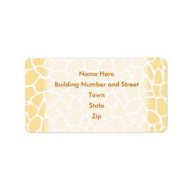 Yellow Giraffe Pattern Animal Print Design. Labels