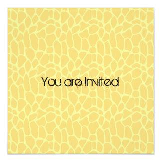 Yellow Giraffe Print Baby Shower Invites