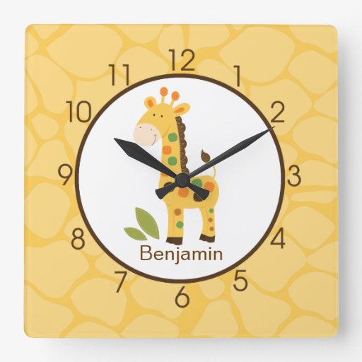 Yellow Giraffe Print Personalized Nursery Clock