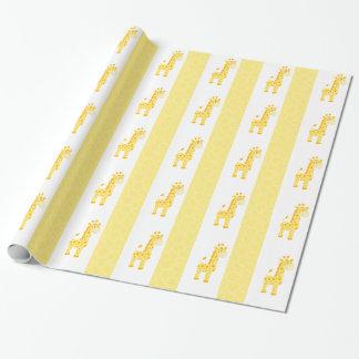 Yellow Giraffe Print Wrapping Paper