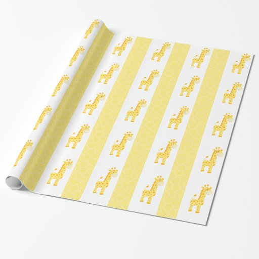 Yellow Giraffe Print Wrapping Paper