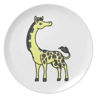 Yellow Giraffe with Black Spots Plate