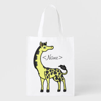Yellow Giraffe with Black Spots Reusable Grocery Bags