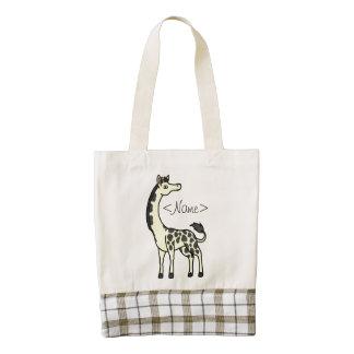 Yellow Giraffe with Black Spots Zazzle HEART Tote Bag
