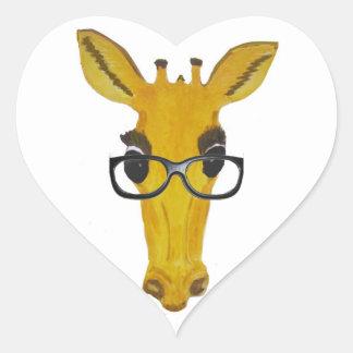 Yellow Giraffe with Glasses Heart Sticker