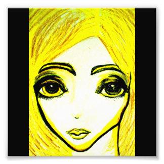 Yellow girl 6x6 photo print