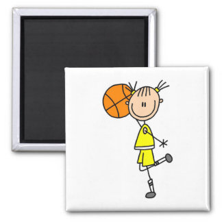 Yellow Girl Basketball Player T-shirts and Gifts 2 Inch Square Magnet