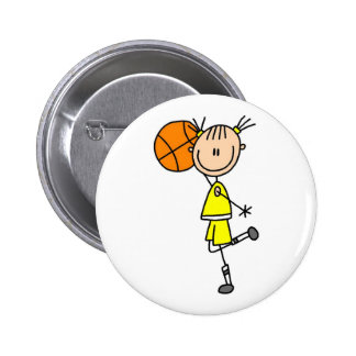 Yellow Girl Basketball Player T-shirts and Gifts Button