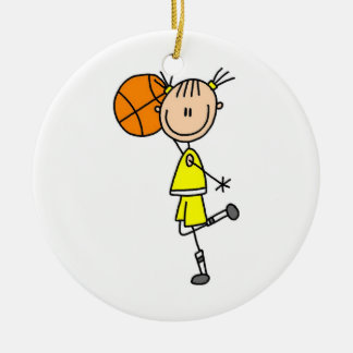 Yellow Girl Basketball Player T-shirts and Gifts Ceramic Ornament