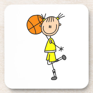 Yellow Girl Basketball Player T-shirts and Gifts Coaster