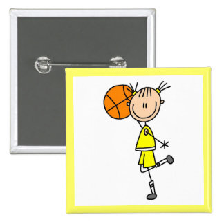 Yellow Girl Basketball Player T-shirts and Gifts Pinback Button