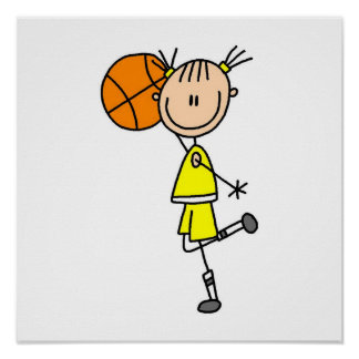 Yellow Girl Basketball Player T-shirts and Gifts Poster