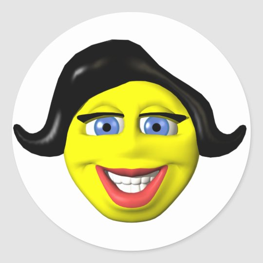 Yellow girl face smiley classic round sticker