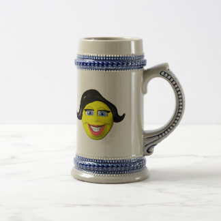 Yellow girl face smiley 18 oz beer stein