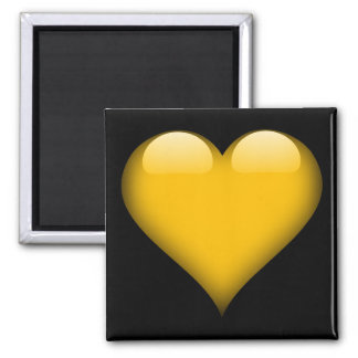 Yellow Glass Heart Customizable Magnet