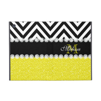 YELLOW GLITTER BLACK CHEVRON MONOGRAMMED iPad MINI COVER