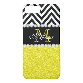 YELLOW GLITTER BLACK CHEVRON MONOGRAMMED iPhone 7 CASE